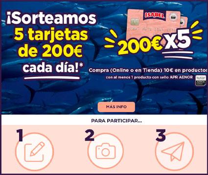 isabel sortea 5 tarjetas de 200 euros cada dia